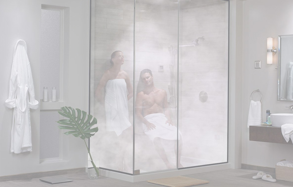 Couple enjoying a steam shower