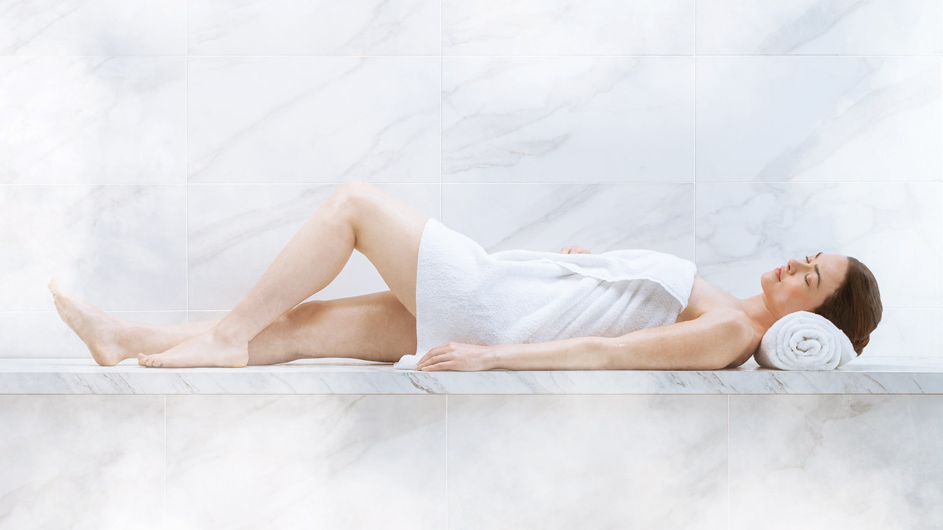 Women laying in Steam Shower